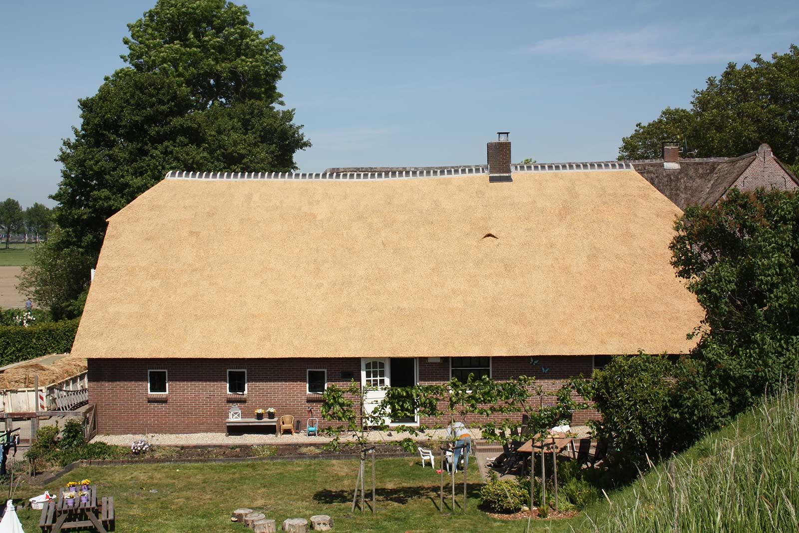 Rieten dak met traditioneel open constructie